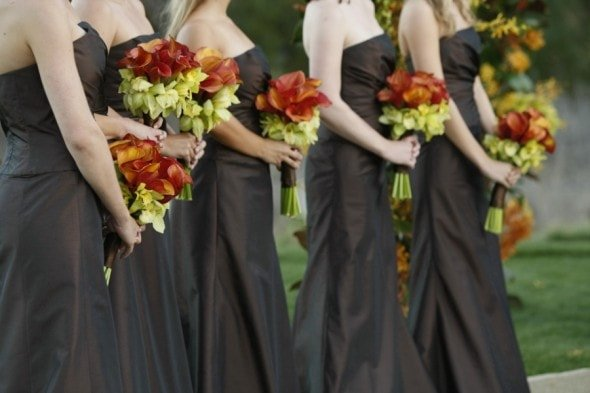 Brown Bridesmaid Dresses Orange Bouquet