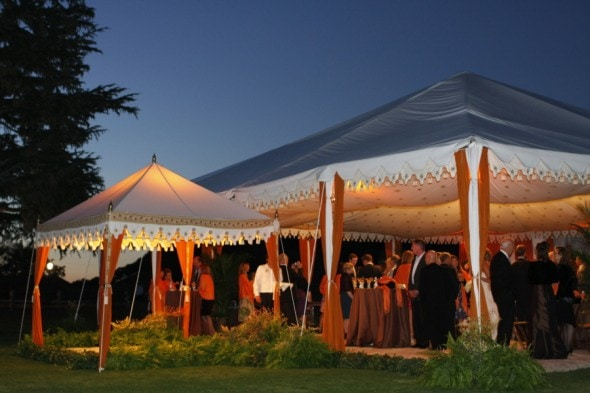 Orange White Wedding Tent