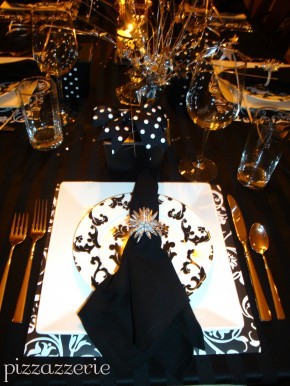 Black and White damask table setting