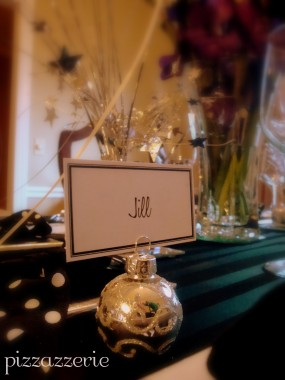 Silver and black placecards for tablescape