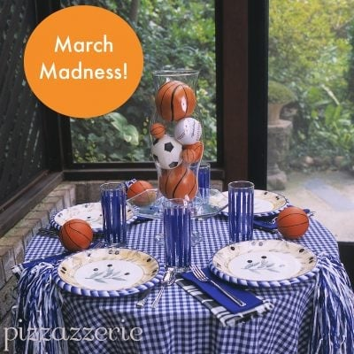 basketball party table to celebrate march madness.