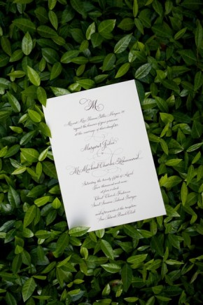 Green and white wedding invitation