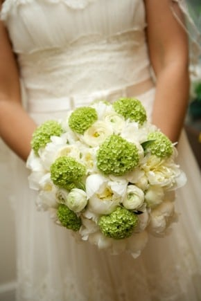 Green and white wedding flower bouquet
