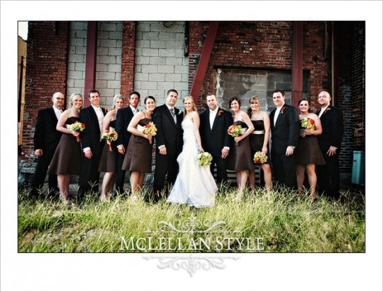 Brown and green wedding party