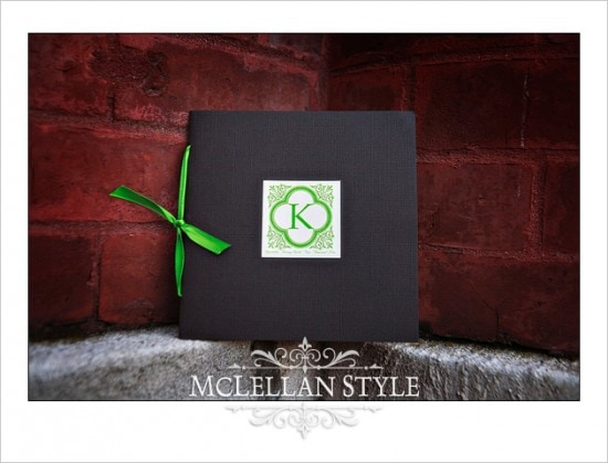 Green and brown handmade wedding program with monogram.