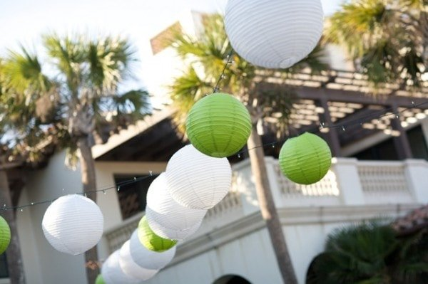 Green and white paper lanterns