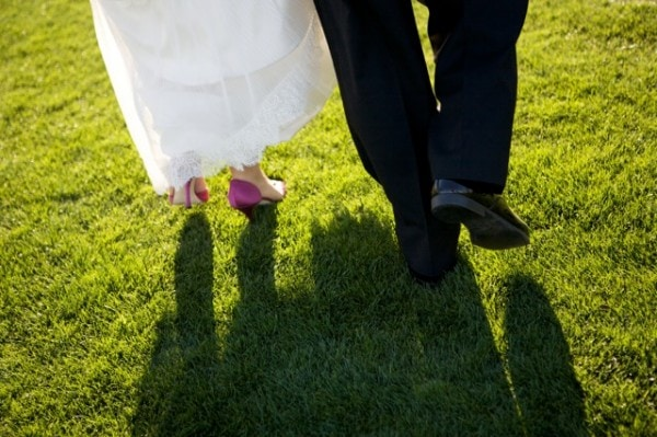 Green Wedding with Pink Shoes