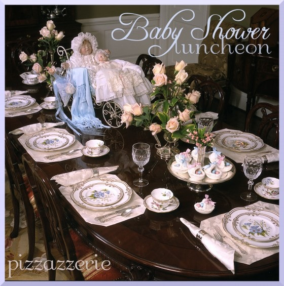 Baby blue shower luncheon with pressed sugar bassinets