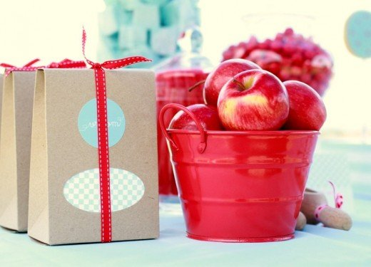 Red apples and brown bag party