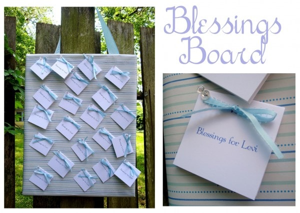 Baby shower blessings board