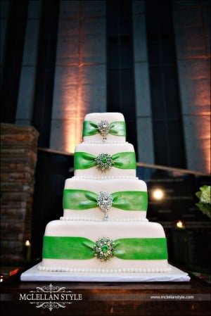 Green and white wedding cake with rhinestones