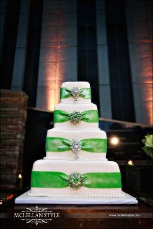 Green and white wedding cake with rhinestones