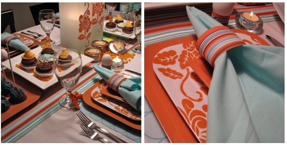 Aqua and Orange Table Design