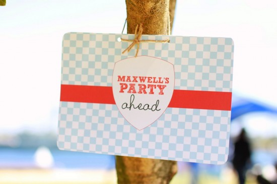 Red and blue party sign