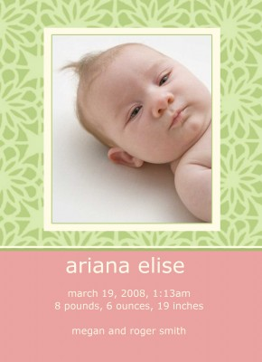 Pink and Green Birth Announcement