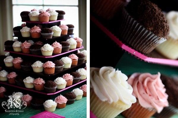 Pink and Brown Wedding Cupcake Tower