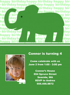 Elephant Birthday Invitation