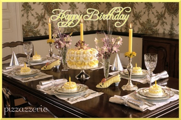 Yellow Happy Birthday Luncheon Table
