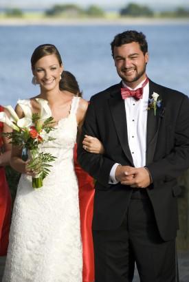 Coral Wedding Bride and Groom
