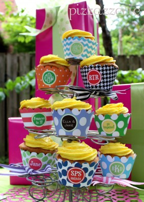 Monogammed Cupcake Wrappers and Bands