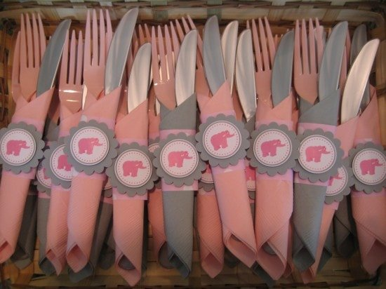 Elephant Baby Shower Forks with Toppers