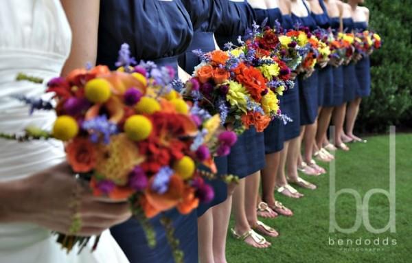 Navy Wedding Bridesmaid Colorful Bouquet