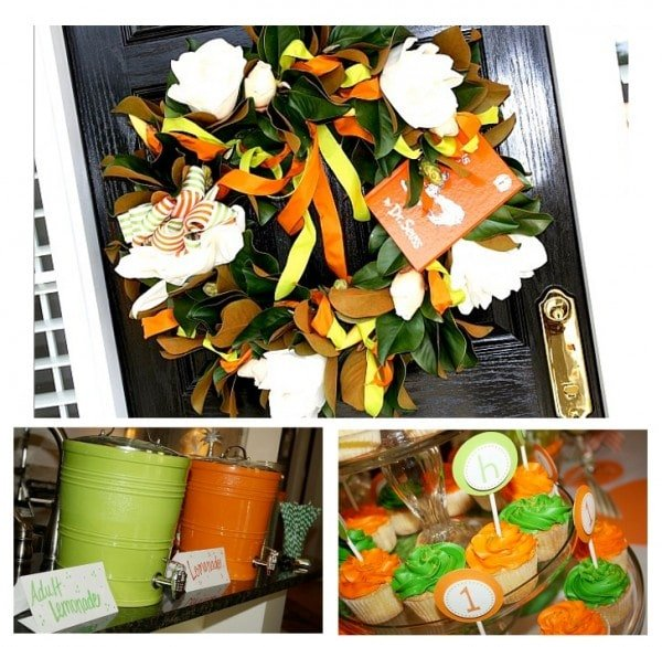 Party Wreath, Drinks, Cupcakes