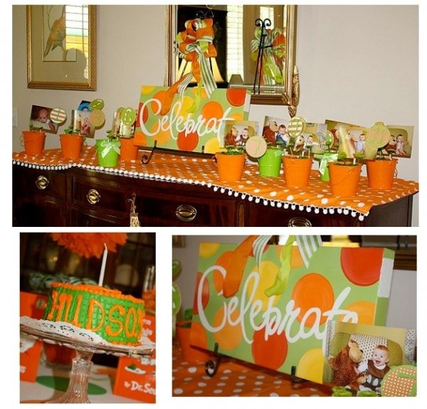 Celebrate Party Sign Green and Orange