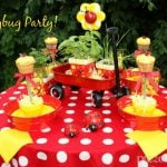 Ladybug Party Table with Yellow Cupcakes