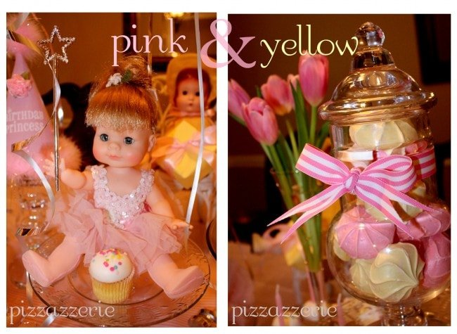 Pink Princess Doll and Yellow and Pink Desserts