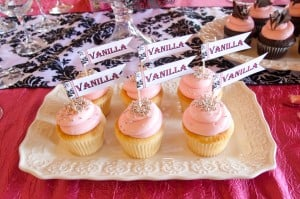 Vanilla Cupcakes with cupcake flags