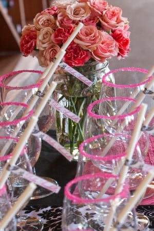 Pink Sugar Rimmed Glasses with Drink Straws