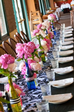 Table Setting Pink and Blue Long Table