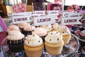 Lemon and Smore Cupcakes with cupcake flags