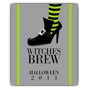 Witch Halloween Wine Bottle Label