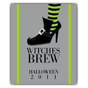 Witch Halloween Wine Bottle Label