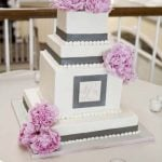 Pink and Gray Wedding Cake