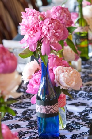 Pink and Blue Flower Vase