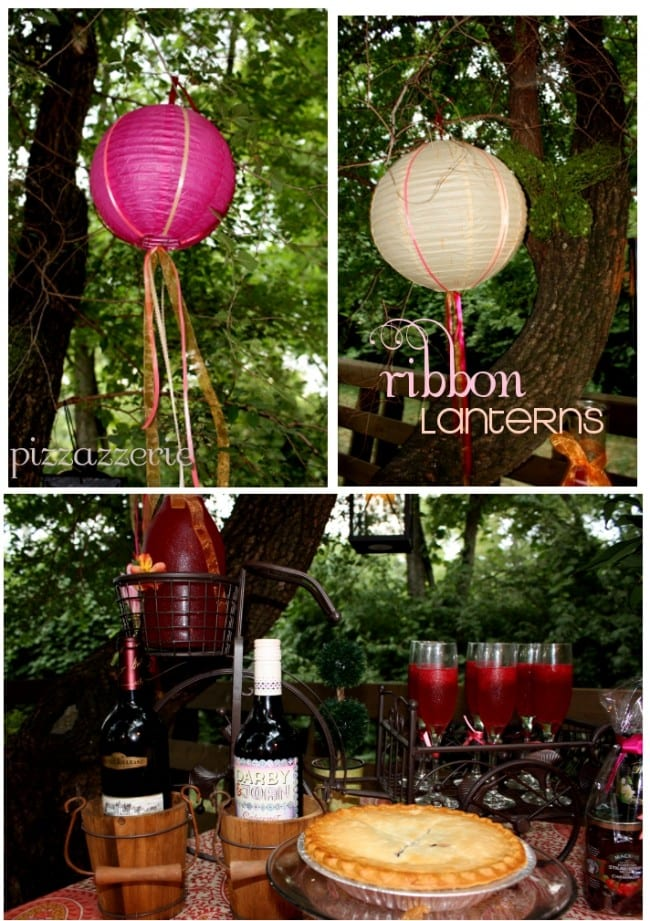 ribbon paper lanterns at pie party
