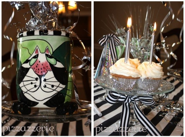 Silver Candles Birthday Party Cat