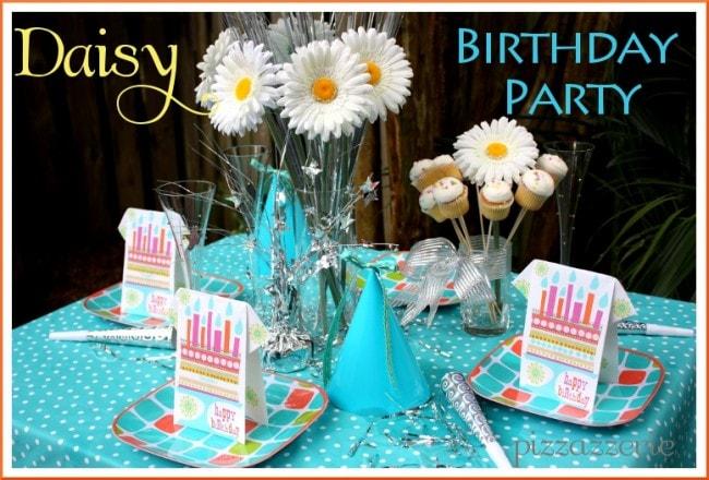 Daisy Teal Birthday Party Table