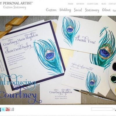 Peacock Wedding Invitation Suite by Michelle Mospens of My Personal Artist