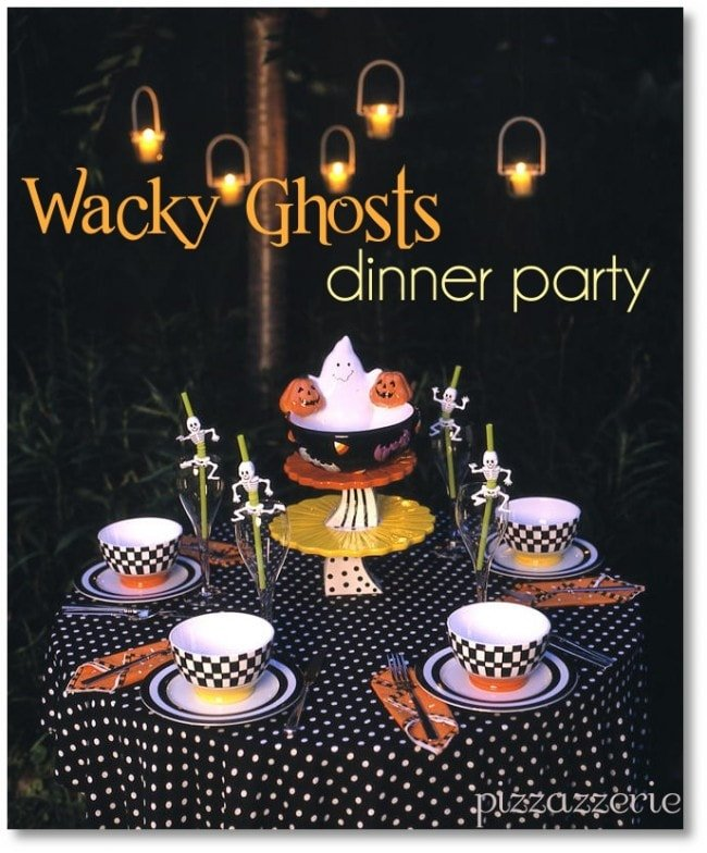 ghosts dinner party, halloween party, ghosts party, artichoke cream soup