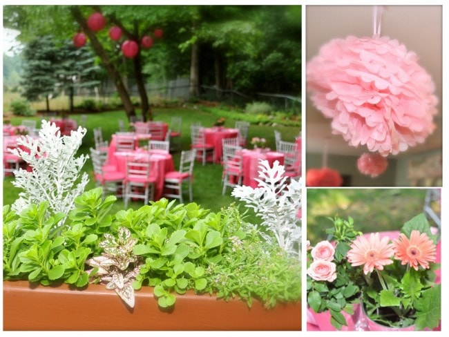 pink garden bridal shower pictures