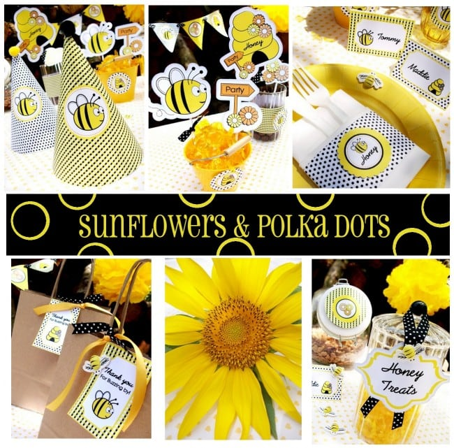 sunflowers, polka dots, and bumble bee party