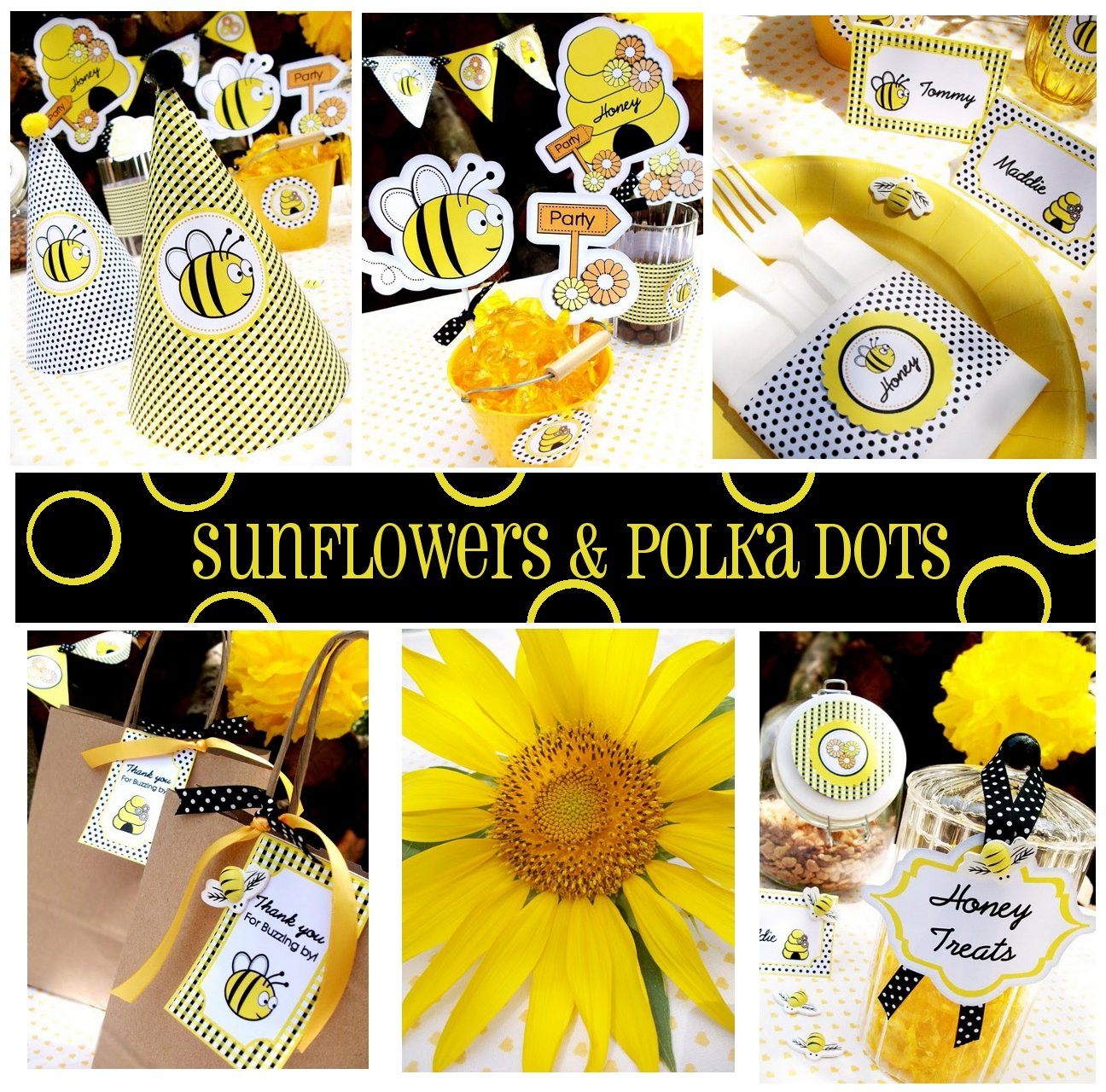 Sunflowers Polka Dots And Bumble Bee Party