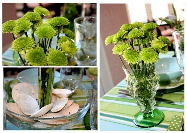 green blue flowers seashells table setting