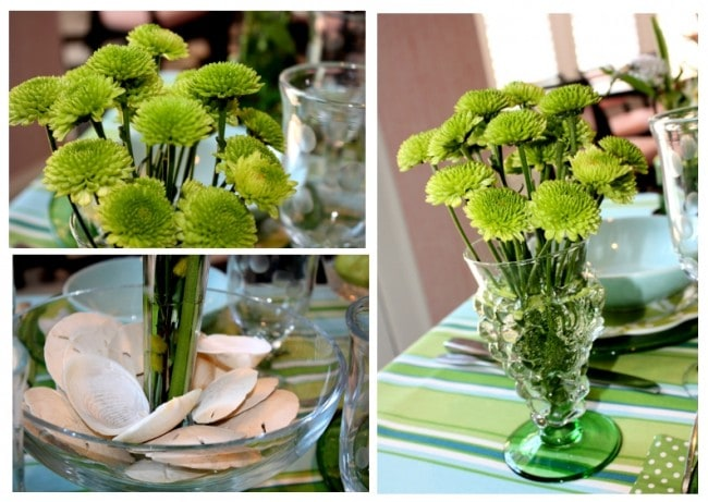 green blue flowers seashells table setting