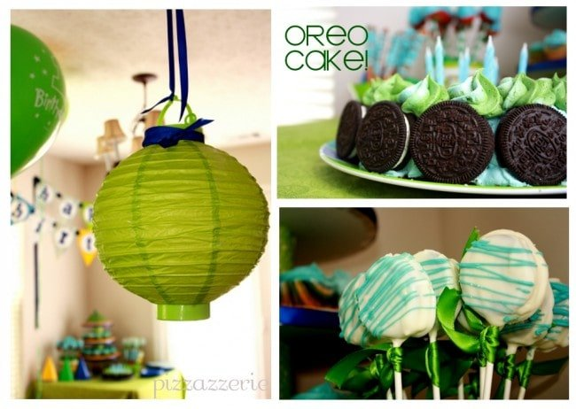 oreo birthday cake and green paper lantern picture
