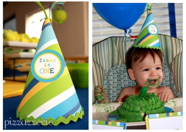 blue, green, and yellow birthday hat party picture